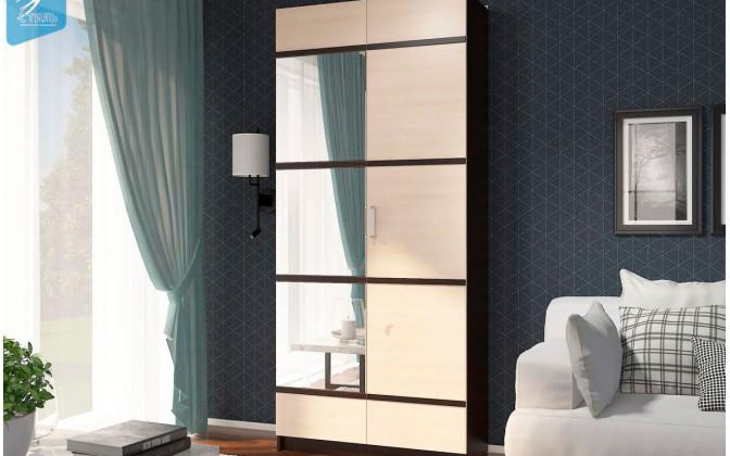 """Шкаф """"Эва"""" ШК-024 ПВХ-декор + зеркало"""